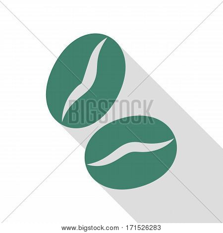Coffee beans sign. Veridian icon with flat style shadow path.