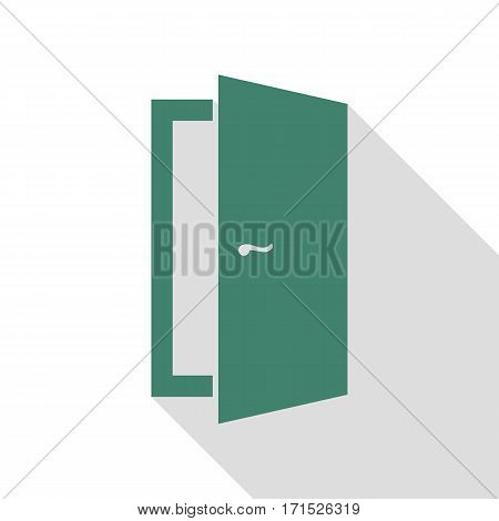Door sign illustration. Veridian icon with flat style shadow path.