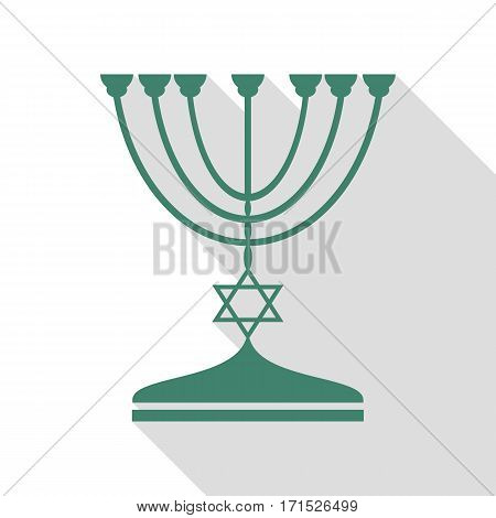 Jewish Menorah candlestick in black silhouette. Veridian icon with flat style shadow path.