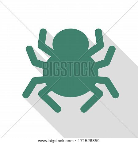 Spider sign illustration. Veridian icon with flat style shadow path.