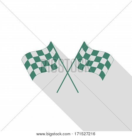 Crossed checkered flags logo waving in the wind conceptual of motor sport. Veridian icon with flat style shadow path.