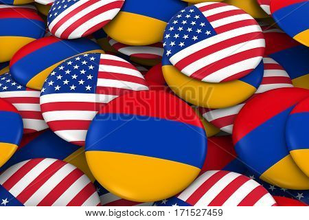 Usa And Armenia Badges Background - Pile Of American And Armenian Flag Buttons 3D Illustration
