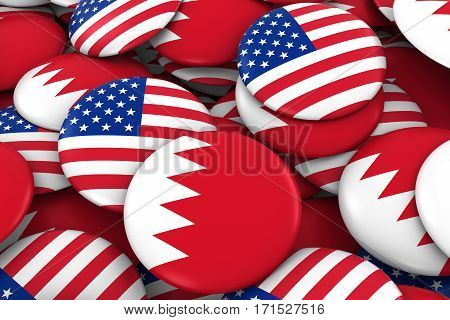 Usa And Bahrain Badges Background - Pile Of American And Bahraini Flag Buttons 3D Illustration