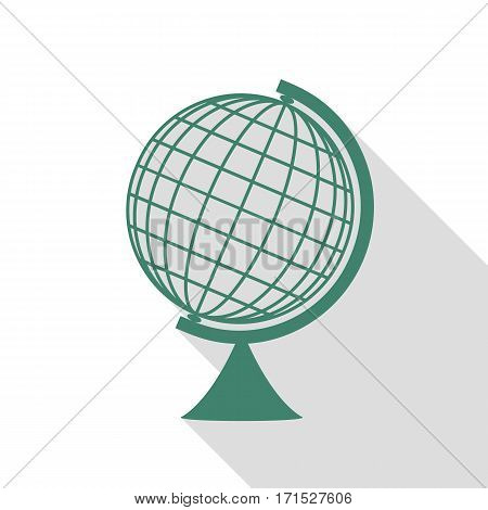 Earth Globe sign. Veridian icon with flat style shadow path.