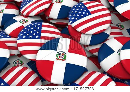 Usa And Dominican Republic Badges Background - Pile Of American And Dominican Flag Buttons 3D Illust