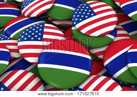 Usa And Gambia Badges Background - Pile Of American And Gambian Flag Buttons 3D Illustration