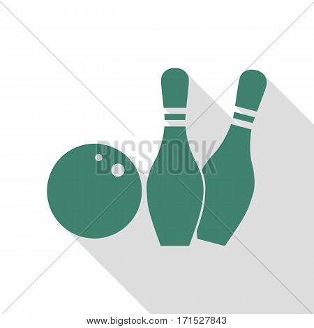 Bowling sign illustration. Veridian icon with flat style shadow path.
