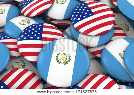 Usa And Guatemala Badges Background - Pile Of American And Guatemalan Flag Buttons 3D Illustration