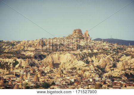 Nevsehir cave city in Cappadocia. Beauty world. Turkey