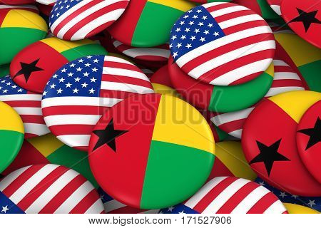 Usa And Guinea-bissau Badges Background - Pile Of American And Bissau-guinean Flag Buttons 3D Illust