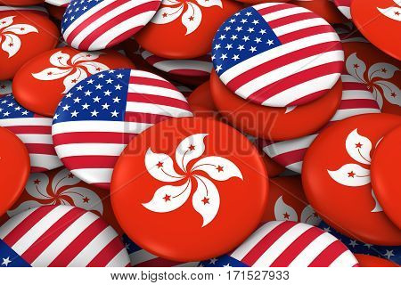 Usa And Hong Kong Badges Background - Pile Of American And Hong Kongese Flag Buttons 3D Illustration