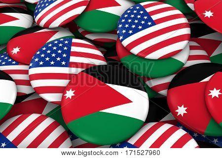 Usa And Jordan Badges Background - Pile Of American And Jordanian Flag Buttons 3D Illustration