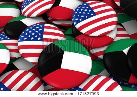 Usa And Kuwait Badges Background - Pile Of American And Kuwaiti Flag Buttons 3D Illustration
