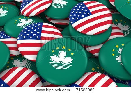 Usa And Macau Badges Background - Pile Of American And Macanese Flag Buttons 3D Illustration