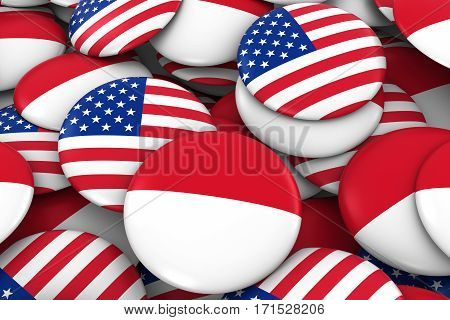 Usa And Monaco / Indonesia Badges Background - Pile Of American And Monegasque / Indonesian Flag But