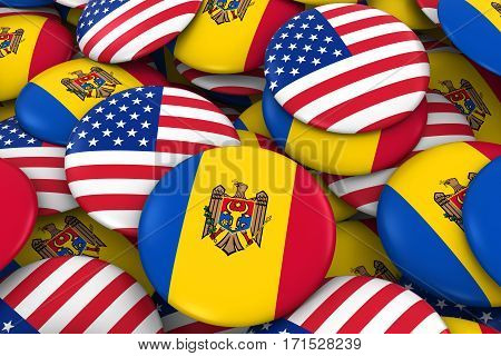 Usa And Moldova Badges Background - Pile Of American And Moldovan Flag Buttons 3D Illustration