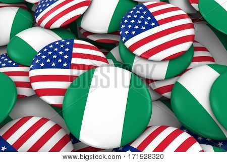 Usa And Nigeria Badges Background - Pile Of American And Nigerian Flag Buttons 3D Illustration