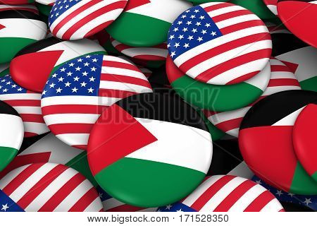 Usa And Palestine Badges Background - Pile Of American And Palestinian Flag Buttons 3D Illustration