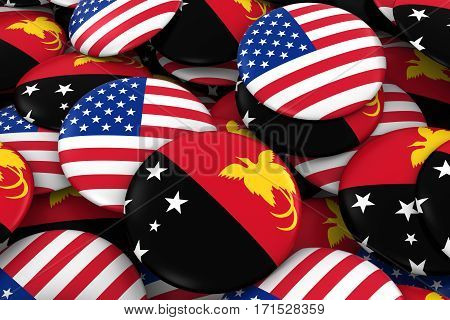 Usa And Papua New Guinea Badges Background - Pile Of American And Papuan Flag Buttons 3D Illustratio