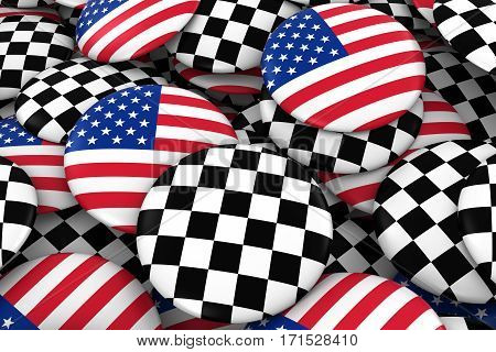 Usa And Racing Checkers Badges Background - Pile Of American And Checkered Flag Buttons 3D Illustrat