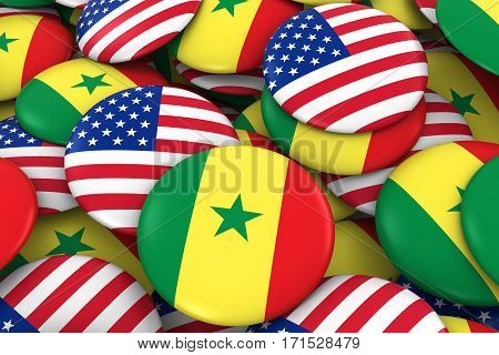 Usa And Senegal Badges Background - Pile Of American And Senegalese Flag Buttons 3D Illustration