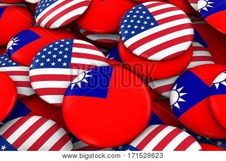 Usa And Taiwan Badges Background - Pile Of American And Taiwanese Flag Buttons 3D Illustration