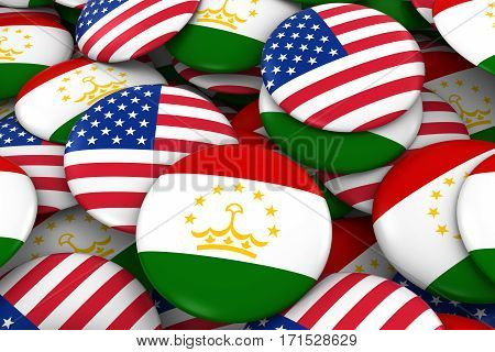 Usa And Tajikistan Badges Background - Pile Of American And Tajikistani Flag Buttons 3D Illustration