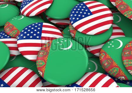 Usa And Turkmenistan Badges Background - Pile Of American And Turkmen Flag Buttons 3D Illustration