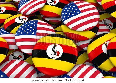 Usa And Uganda Badges Background - Pile Of American And Ugandan Flag Buttons 3D Illustration