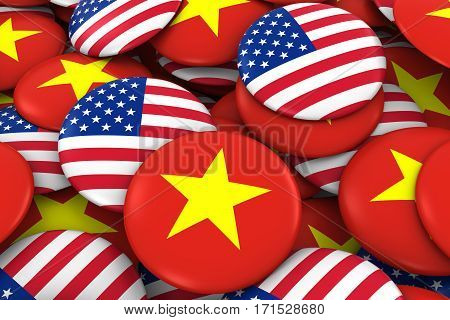 Usa And Vietnam Badges Background - Pile Of American And Vietnamese Flag Buttons 3D Illustration