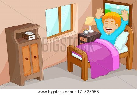 cute little boy cartoon wake up in the bedroom