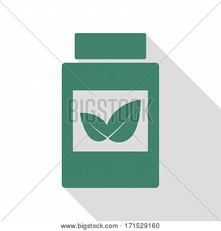 Supplements container sign. Veridian icon with flat style shadow path.