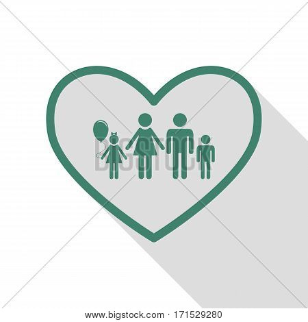 Family sign illustration in heart shape. Veridian icon with flat style shadow path.