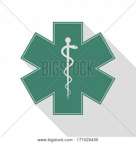 Medical symbol of the Emergency or Star of Life. Veridian icon with flat style shadow path.