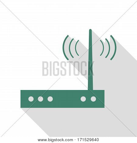Wifi modem sign. Veridian icon with flat style shadow path.