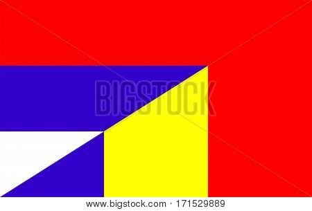 romania serbia neighbour countries half flag symbol