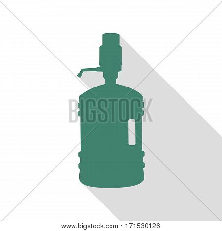 Plastic bottle silhouette with water and siphon. Veridian icon with flat style shadow path.