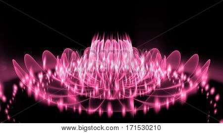 Abstract Exotic Flower With Glowing Sparkles On Black Background. Fantasy Fractal Design In Pink Col