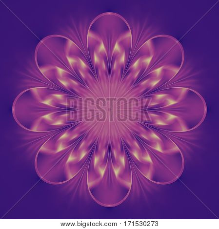 Abstract Exotic Flower. Psychedelic Mandala Design In Beige, Pink And Violet Colors. Fantasy Fractal