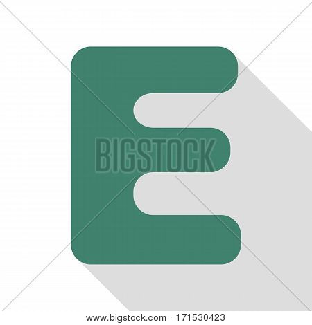 Letter E sign design template element. Veridian icon with flat style shadow path.