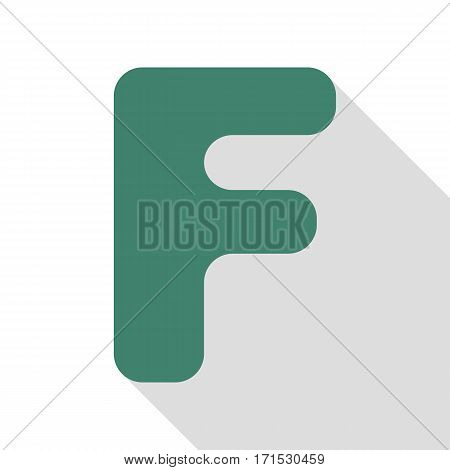 Letter F sign design template element. Veridian icon with flat style shadow path.