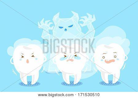 cute cartoon tooth feel afraid with sensitive problem