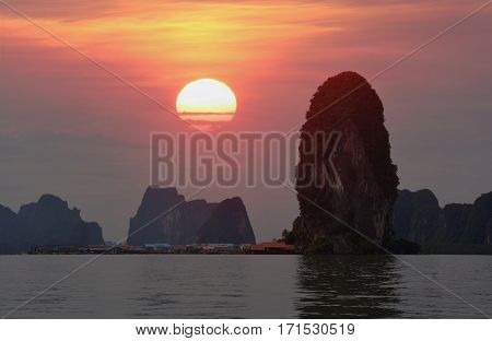 Beautiful sunset at PANYEE ISLAND THE FISHERMAN'S SEA VILLAGE