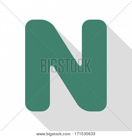 Letter N sign design template element. Veridian icon with flat style shadow path.