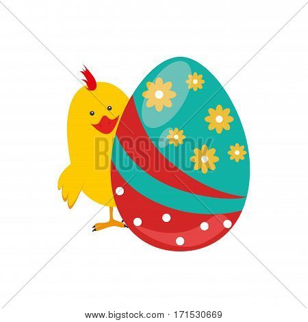 chicken animal with colorful easter egg vector illustration