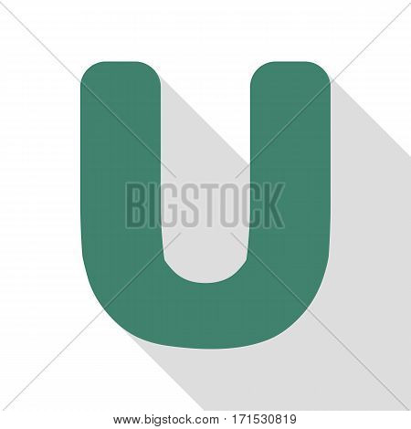 Letter U sign design template element. Veridian icon with flat style shadow path.
