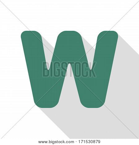 Letter W sign design template element. Veridian icon with flat style shadow path.