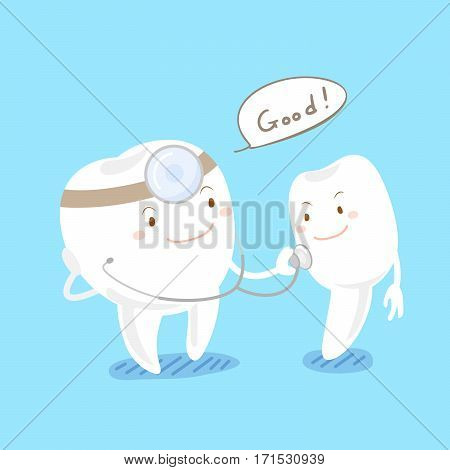happy cute cartoon tooth with health concept