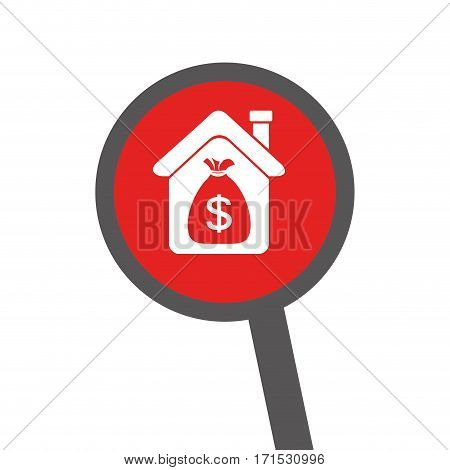 loupe with silhouette house with bag with dollar symbol vector illustration