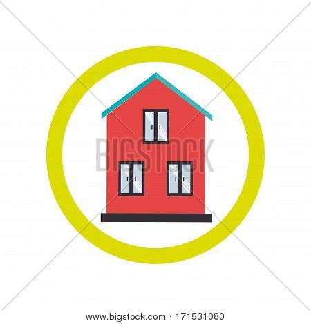 circular border with silhouette facade house vector illustration
